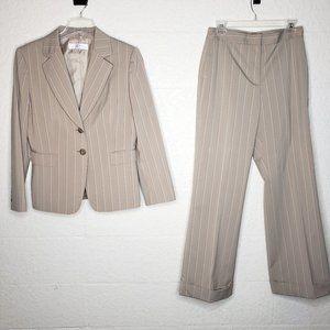 Tahari Arthur S Levine Tan Pinstripe Pant Suit 12